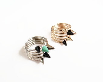 Spike Ring, Silver Spike Ring or Gold Spike Ring, Edgy Glam Punk Ring