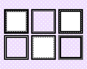 Square Digital Frame Collection 1 - Clipart Frames - Instant Download - Commercial Use