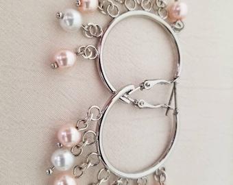 Silver Hoop earrings with Pearl drops.