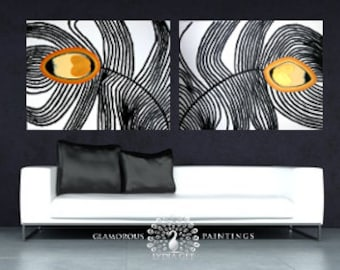 Sofa painting + Swarovski® crystals MY PRIDE decor living room wall art. Mustard yellow home decor sofa wall art living room decor Lydia Gee