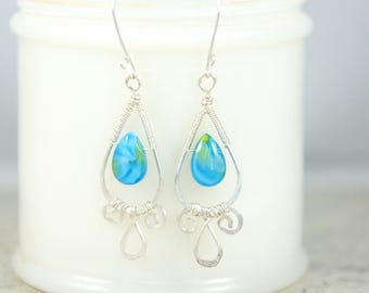 Wire Wrapped earrings, Silver wire wrapped earrings, silver earrings, Aqua blue earrings, teardrop bead earrings, Item #143