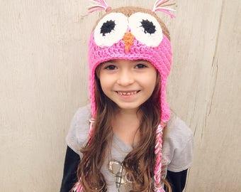 Crochet Owl Beanies (Baby-Adult Sizes)