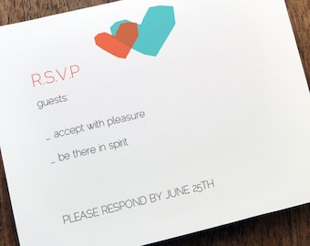 Printable RSVP Card - Response Card Download - Instant Download - RSVP Template - Response Card - Blue and Red Heart - 2 Hearts - Heart rsvp
