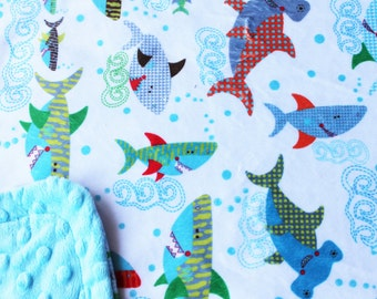 Minky Blanket Shark Print Minky with Turquoise Dimple Dot Minky Backing - Perfect Size a Toddler or Child