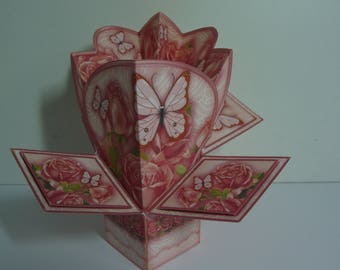 Peach Roses and Butterflies Pop Up Card