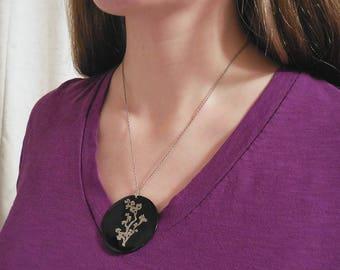 Black Floral Pendant Necklace, Tree Branch Necklace, Large Statement Pendant Necklace
