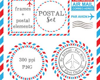 Postal Airmail Frames and Cliparts - Digital - Circle Square Rectangle Frames - Postal Stamp - Instant Download