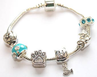 Liberty Charms Children's 'Cool for Cats' Silver Plated Chrm Bead Bracelet With Gift Box & Velvet Pouch