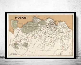 Old map of Hobart , Australia 1893
