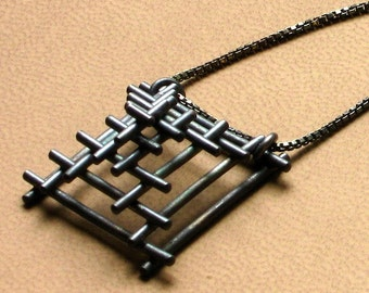 Sterling Tiny Temple Pendant OXIDIZED