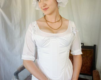 Plus Sizes - 1790's Transitional Stays - Georgian Corset Historical 18th Century Costuming French Revolution - Ready to Ship Standard Sizing