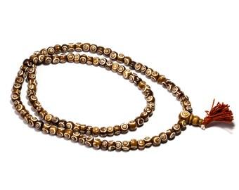 Mala Meditation Beads Yak Bone Dyed Tan Colour Spirals 108 Mala beads Tribal Jewellery Prayer Beads Buddhist Free UK Delivery + Gift Bag M6