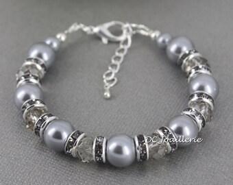 Bridesmaid Jewelry Grey Bracelet Crystal Bracelet Pearl Bracelet Bridesmaids Gift Maid of Honor Gift Wedding Jewelry on a Budget