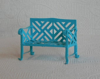 Fairy Garden Bench miniature furniture bright robin's egg blue miniature accessories, accessory for miniature garden, bench for fairy