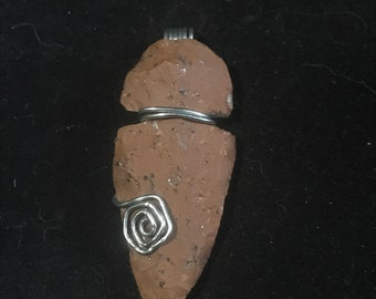 Stone Arrowhead Wire Wrapped Pendant