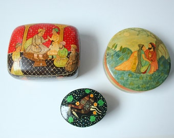 3 vintage lacquered lidded boxes for jewelry or small treasures - bohemian decor table accent - sweetheart valentine gift box