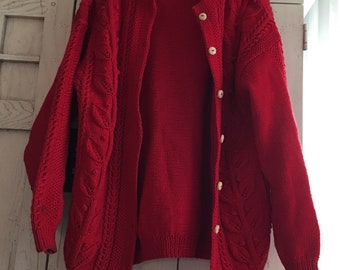 Red Cardigan Cabled Sweater Made In Uruguay Size Medium