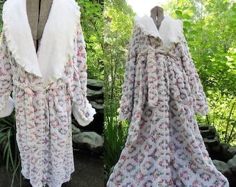 Vintage world map tapestry etsy old world tapestry roses chenille robe vtg bathrobe prairie ruffle collar gumiabroncs Images