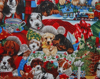 Robert Kaufman fabric puppy dog fabric novelty cotton fabric Christmas fabric Holiday OOP Jenny Newland quilt fabric Christmas dogs