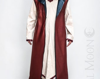 "NEW: Men's Rust Red Faux Leather ""Druid Duster"" REVERSIBLE to Black by Opal Moon Designs (Size S-XXL)"