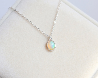 Natural Opal Pendant Necklace - Dainty Opal Necklace, Large Opal Pendant, Fire Opal Necklace, October Birthstone Necklace