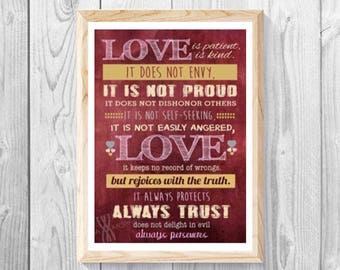 "Love is Patient and Kind, 1 Corinthians 13:4-8, Love Is Not Proud, Rustic, Scripture Wall Art, Bible Verse, Measures 11""x 17""."