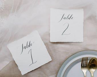 Custom Handwritten Calligraphy Table Numbers, Gold Leaf Optional - Made To Order