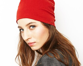 beanie hat/ red/ organic cotton