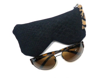 Simple Black Reptile Inspired Eyeglass Case Pouch, Sunglasses Case, Glasses Case