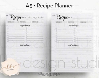 Recipe Planner, Recipe Book, A5 Planner Inserts, Recipe Journal, Recipe Binder, Recipe Cards, A5 Planner, A5 Filofax, Printable Planner