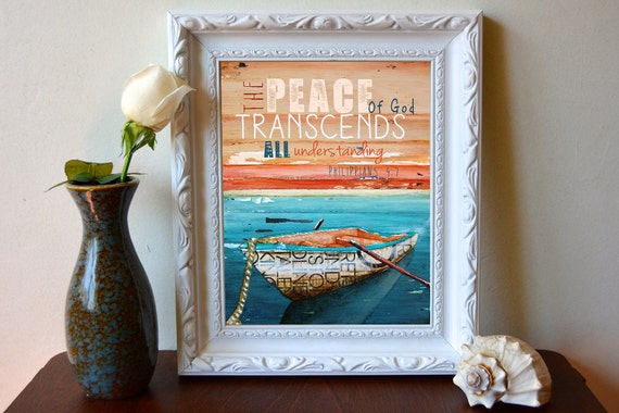 Philippians 4:7 - Inspirational print, Christian print, Scripture art , Christian art, Rowboat, Peace, nautical art, wall decor, All Sizes