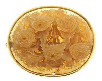 Vintage 1930's 14 Kt oval celluloid carved floral brooch