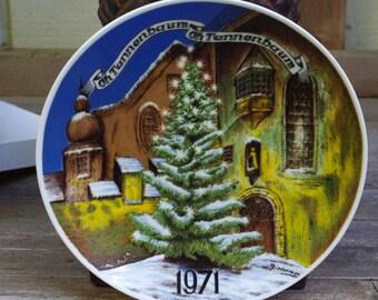 Western Germany Christmas Plate Oh Tannenbaum 1971 Seven Seas Traders Inc.