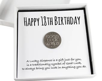 Happy 18th Birthday Lucky Sixpence Keepsake Gift,  Good Luck Present, Lucky Coin