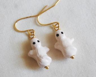 Ghost Earrings , Halloween Earrings , Cute Ghost Earrings , Ceramic Bead Earrings