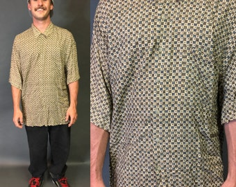 Pierre Cardin Abstract Checkered retro vintage classic mens womens XL XXL 80s 90s Button-up Shirt
