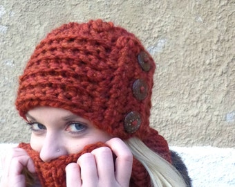 Chunky Hat, Hat, Coconut Buttons, Rust, Chunky, Statement Hat, Crochet, Birdy27, Hat with Buttons, Buttons, Rust Hat