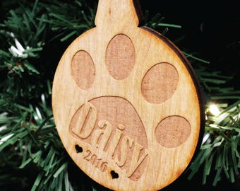 Personalised Pet Christmas Tree Decoration | Wooden Engraved Paw Bauble Gift