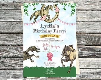 Personalised Horse Birthday Invitations, Pony Party, Rosette invite, Pink or Blue, bunting, stable ranch, horseshoe, florals, equestrian