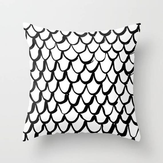 Black and White Mermaid Throw Pillow . Black and White Pillow . White Cushion . Mermaid Pillow . Pillow . Mermaid Cushion 14 16 18 20 inch