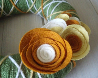 Yarn Wreath Felt Handmade Door Decoration - Citrus 8in