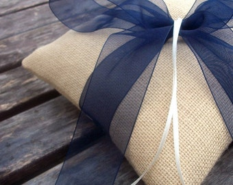Wedding Ring Bearer Pillow in Ecru Burlap/Hessian And Navy Blue Organza Ribbon