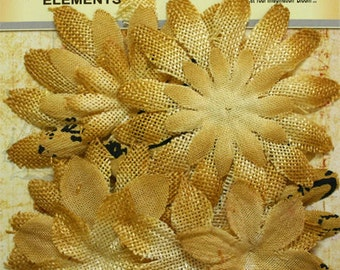 Petaloo Textured Elements Burlap Canvas Daisy Layers in Antique Gold