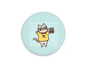 Cute Gift Pi Math Nerd Gift Math Nerd Pin Back Button Cute Nerdy Cat Magnet Math Gift Math Cat Magnet Cute Pins