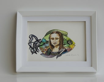 Wire Fish Gets Its Mona Debbie On!! Mona Lisa's daughter, maybe? Beyond the portrait!