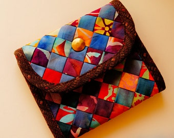 Handmade batik fabric knitted fold wallet / purse