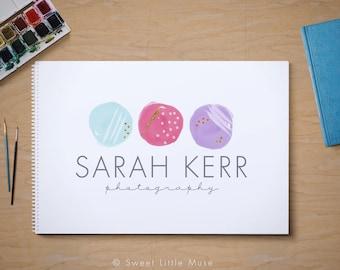 Watercolor Logo - hand drawn watercolor dots logo - Photography logo