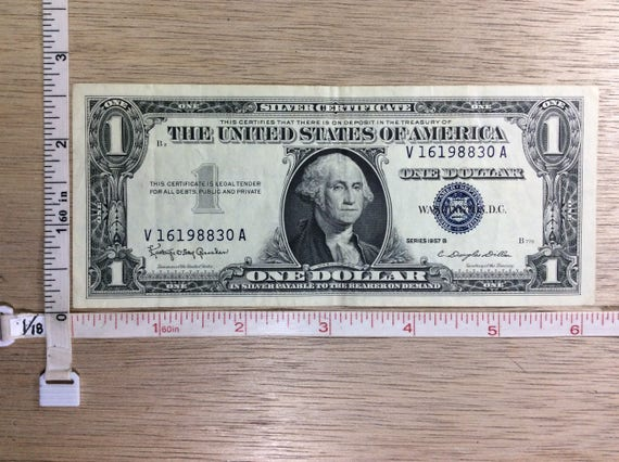 1957B One Dollar Silver Certificate Money Serial No V16198830A