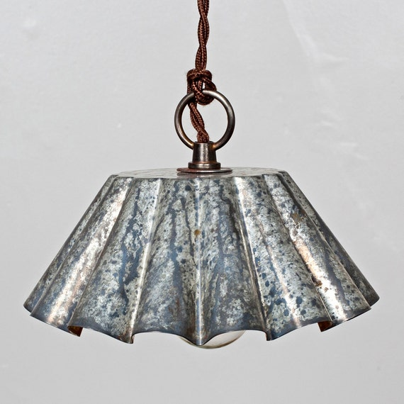 Just Reduced Rustic Handmade 3 Bulb Hanging Light Fixture Or: Brioche Tin Pendant Light Barn Aged Patina LG Rustic