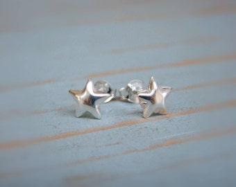 Silver Star Stud Earrings, 925 Sterling Silver Studs